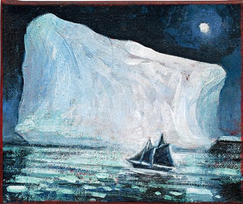 "David Blackwood ""Ice Mast High Came Floating by – Green as Emerald"" (S.T.Coleridge). Olio su tela 2015"