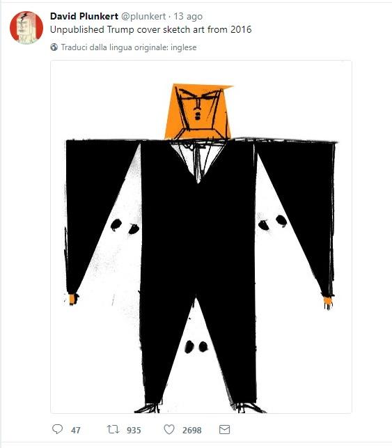 David Plunkert pubbloica su Twitter un suo disegno inedito del 2016 dedicato a Trump in versione Ku Klux Klan
