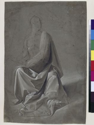 Domenico Ghirlandaio or workshop of Andrea del Verrocchio Drapery Study (possibly study for Saint Matthew and an Angel), about 1477 Brown and black wash heightened with white on brown linen, 26.2 x 17.1 cm © Kupferstichkabinett. Staatliche Museen zu Berlin / Photo: Jörg P. Ander