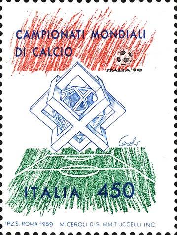 Francobollo di Italia 90 con la scultura di Ceroli