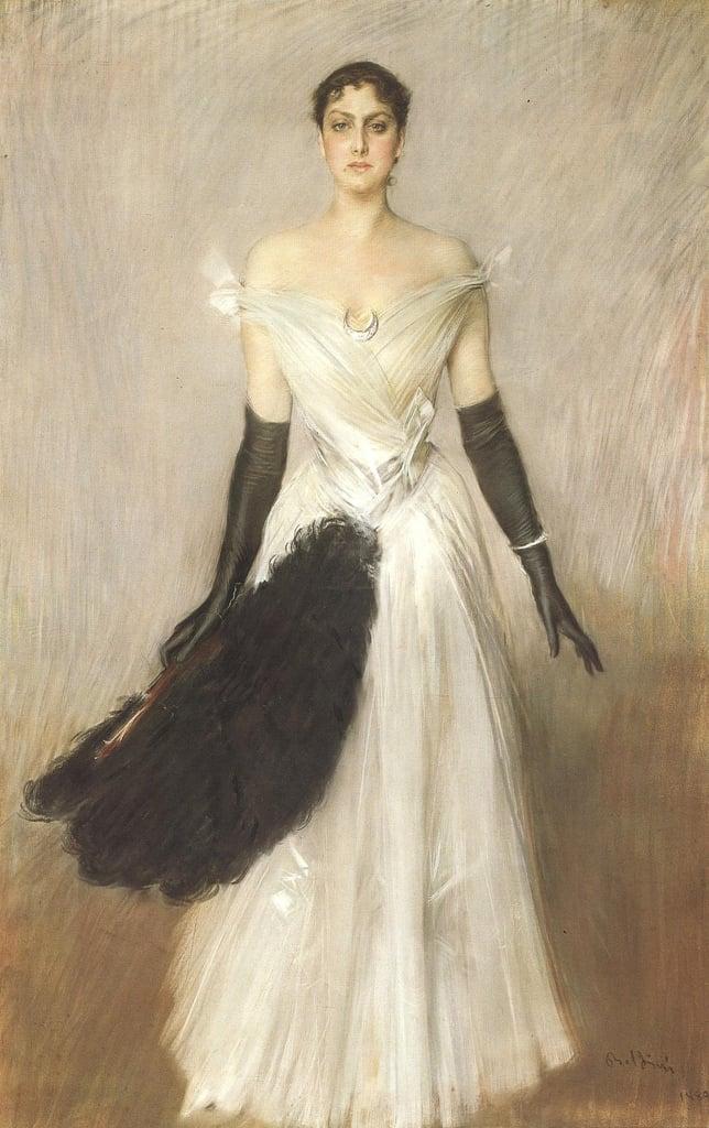 Giovanni Boldini, Ritratto di signora in bianco con guanti e ventaglio, 1889, collezione privata