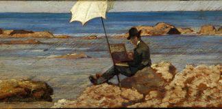 Giovanni Fattori, Silvestro Lega che dipinge sugli scogli, olio su tavola 12,5 x 28 cm