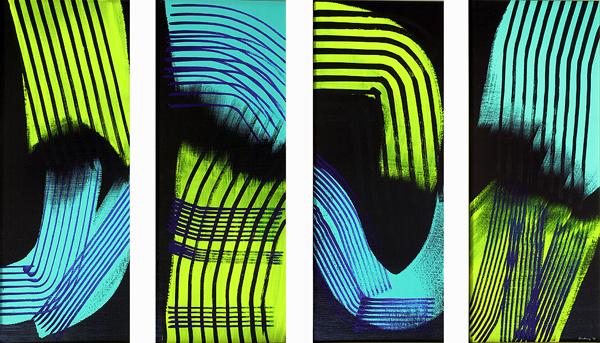 Hans Hartung, T1973 E44 T1973 E45 T1973 E46 T1973 E47, 1973 Acrilico su tela, 130 x 230 cm, Collezione Fondazione Hartung Bergman