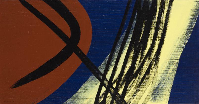 Hans Hartung, T1974 E28 T1974 E29, 1974, acrilico su tela, 50 x 220 cm, Collezione Fondazione Hartung Bergman