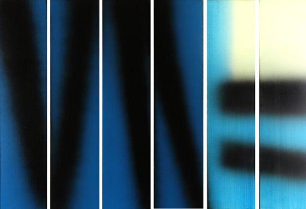 Hans Hartung, T1983 E14 E15 E16 E17 E18 E19 HEXAPTYQUE, 1983, acrilico su tela, 150 x 210 cm, Collezione Fondazione Hartung Bergman