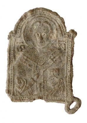 Insegna di pellegrinaggio con San Nicola da Bari