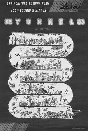 Manifesto della festa di Capodanno 82 Tunnel 83. Archivio Simone Carella