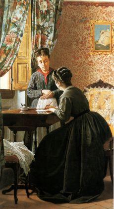 Odoardo Borrani, L'analfabeta, olio su tela 75 x 41,5 cm