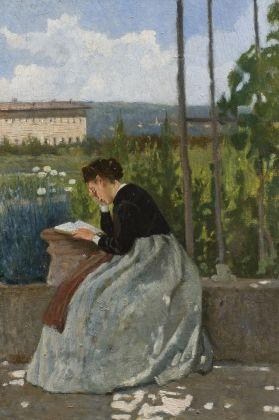 Silvestro Lega, Lettura romantica, olio su tavola 31,5 x 21 cm