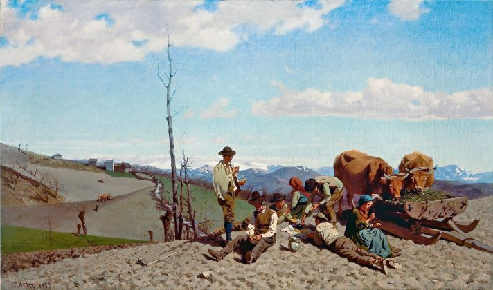 Stefano Bruzzi, Prime giornate di bel tempo, olio su tela 60,5 x 102 cm