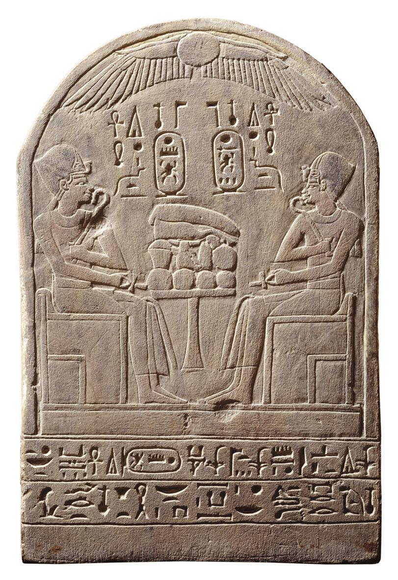 Stele sulla quale sono raffigurati Thutmosi III e suo figlio Amenofi II (© Stichting Rijksmuseum van Oudheden, Leida) [Nr archiv. 3]