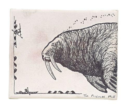 Tim Pitsiulak Bull Walrus Disegno a inchiostro su tela 2015
