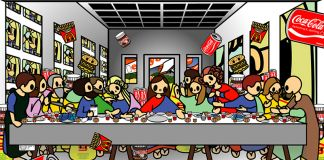 Tomoko Nagao, Leonardo da Vinci The Last Supper with MC, Easyjet, Coca Cola, Nutella, Esselunga, IKEA, Google and Lady Gaga, 2014