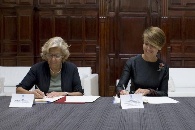 Manuela Carmena Sindaco di Madrid e Patrizia Sandretto Re Rebaudengo