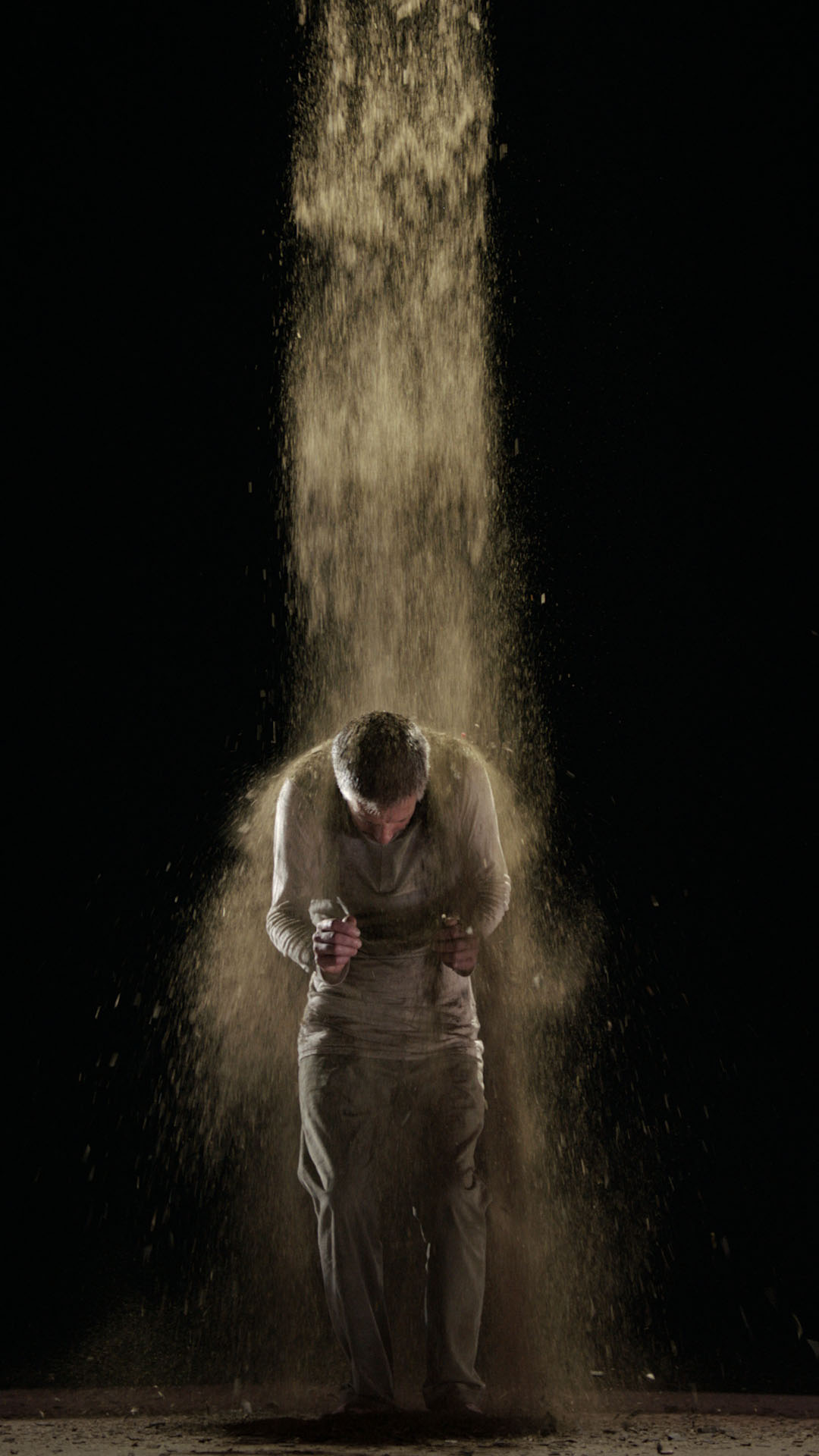 Bill Viola, Earth Martyr, 2014, Color high definition video on flat panel display mounted vertically on wall. Executive producer Kira Perov, Performer Norman Scott