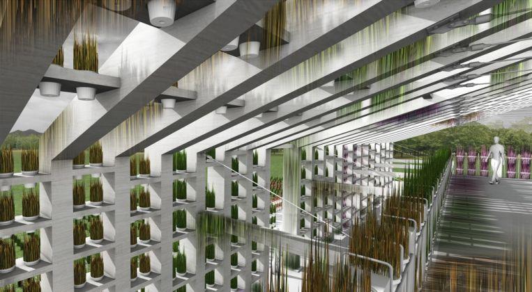 Centola & Associati, Fattoria didattica, Santa Maria La Fossa. La struttura in legno supporta 2.700 vasetti in bioplastica, ognuno curato da un residente-esterno