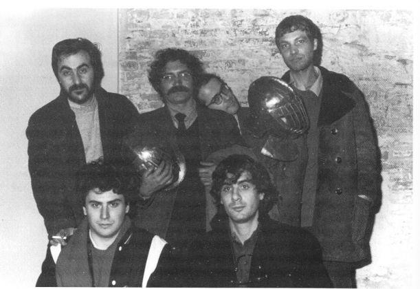 Da sinistra in alto, Tanino Liberatore, Vincenzo Sparagna, Filippo Scòzzari e Massimo Mattioli. In basso, Stefano Tamburini e Andrea Pazienza, 1982