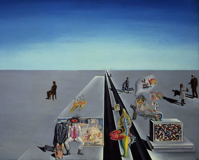 Salvador Dalí, Les premiers jours du printemps (The First Days of Spring), 1929. Oil and collage on panel. 49.5 x 64 cm. © Collection of the Salvador Dalí Museum, St. Petersburg, Florida / © Salvador Dali, Fundació Gala-Salvador Dalí, DACS 2016.