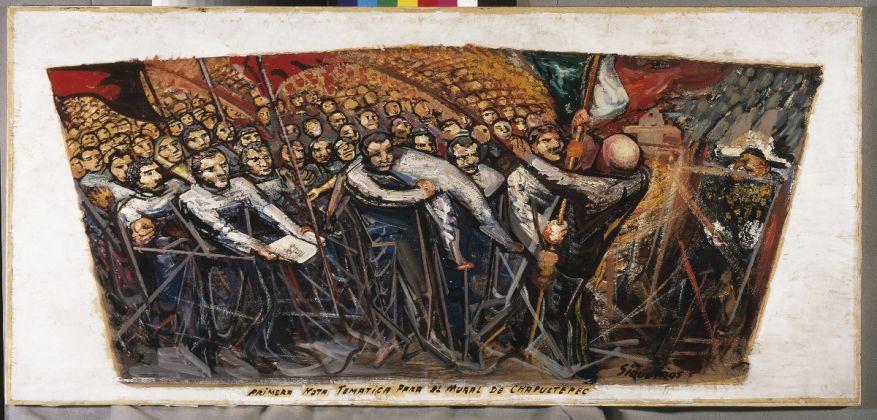 David Alfaro Siqueiros, Primera nota temática para el mural de Chapultepec, ca. 1956 57, Piroxilina sobre papel sobre madera comprimida, Museo de Arte Carrillo Gil