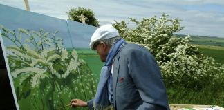 David Hockney painting Woldgate Before Kilham, 2007