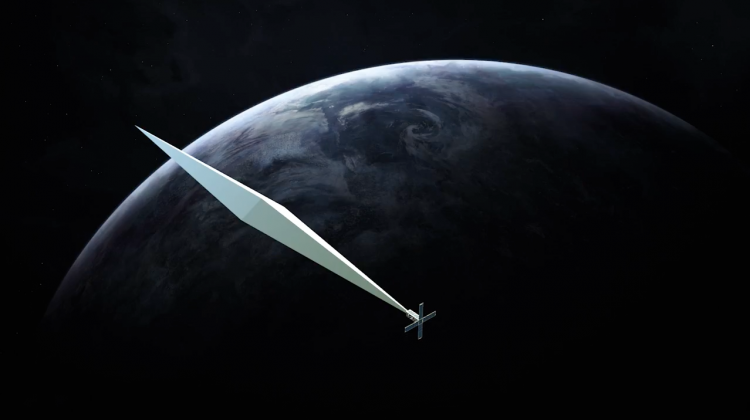 Design concept rendering for Trevor Paglen Orbital Reflector, co produced and presented by the Nevada Museum of Art, 2017