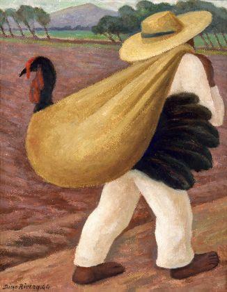 Diego Rivera, Campesino cargando un guajolote, 1944, Oleo sobre madera, temple sobre masonite, Colecci