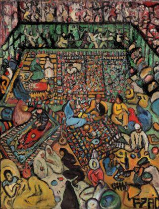 Fahrelnissa Zeid, Passeggeri di terza classe, 1943. Olio su tavola, 130 x 100 cm. Collezione Istanbul Museum of Modern Art, Eczacıbaşı Group. ©Raad Zeid Al-Hussein. Courtesy Tate, Londra