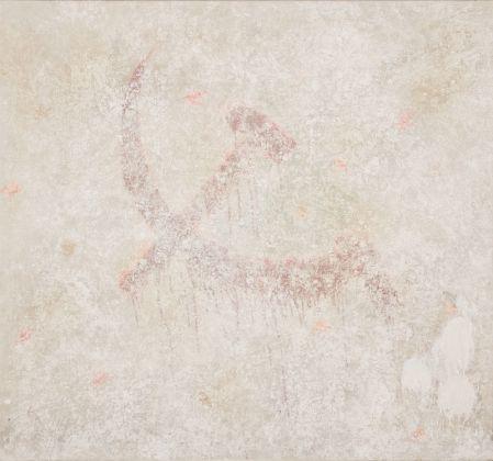 Franco Angeli, Bella Ciao omaggio a Dine, 1963, 153x143 cm. tecnica mista su tela con tulle e gesso