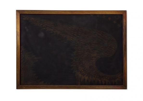 Franco Angeli, Grande Ala, 1969, 127x183 cm. tecnica mista su tela con tulle