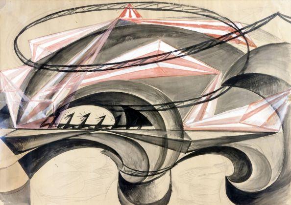 Giacomo Balla, Ponte della velocità, olio magro su carta, 68 x 96 cm. Collezione privata