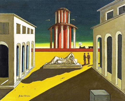 Giorgio De Chirico, Piazza d'Italia, olio su tela, 50 x 60 cm. Collezione privata