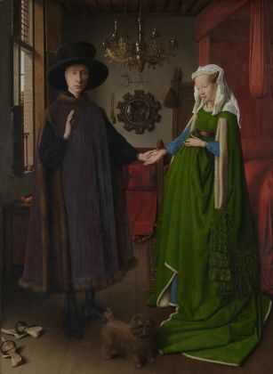 Jan van Eyck, Portrait of Giovanni () Arnolfini and his Wife and 'The Arnolfini Portrait', 1434, Oil on oak, National Gallery, London © The National Gallery, London