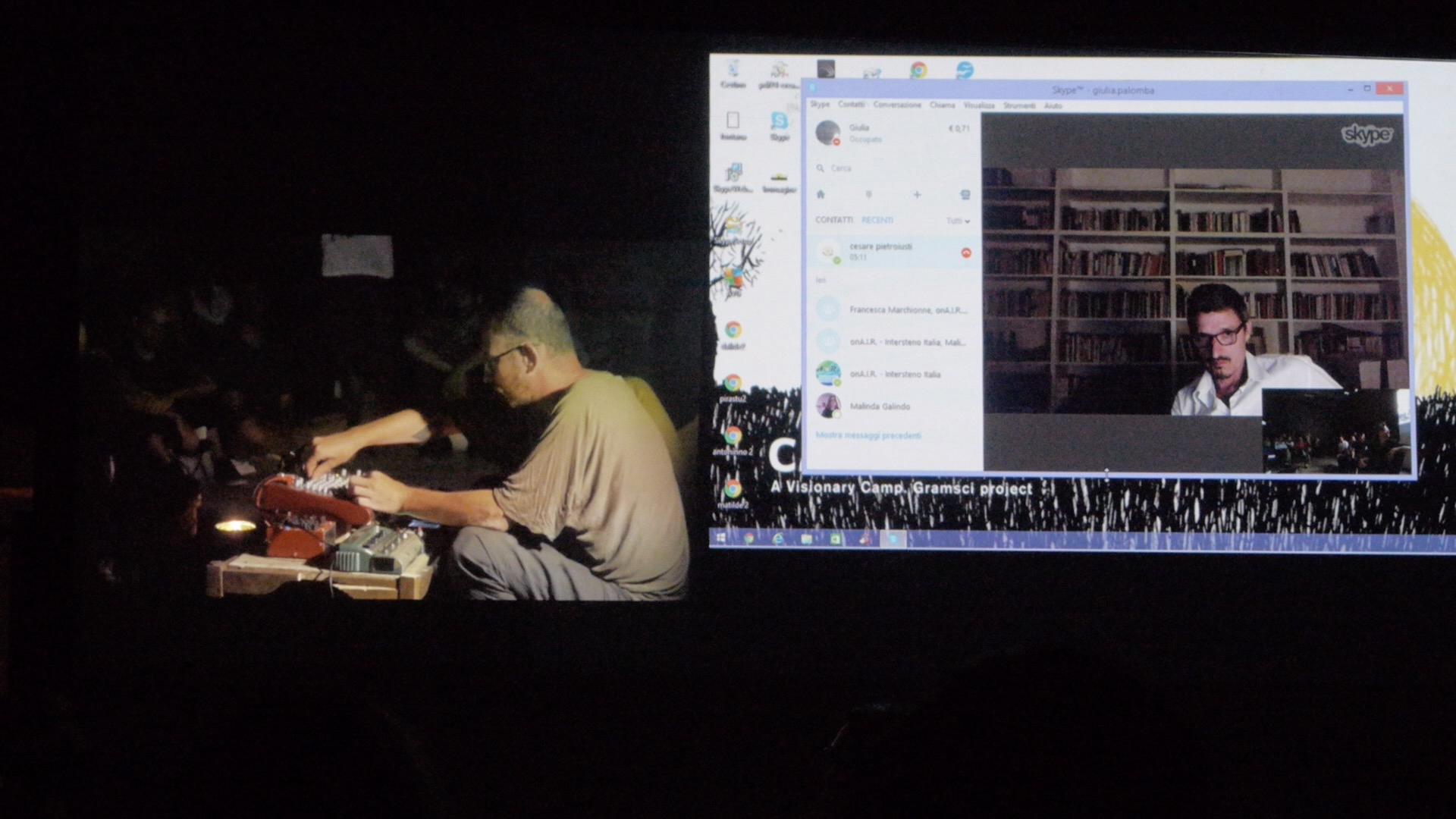 L'artista Cesare Pietroiusti in collegamento skype. Camposud. Foto di Francesco Deplano
