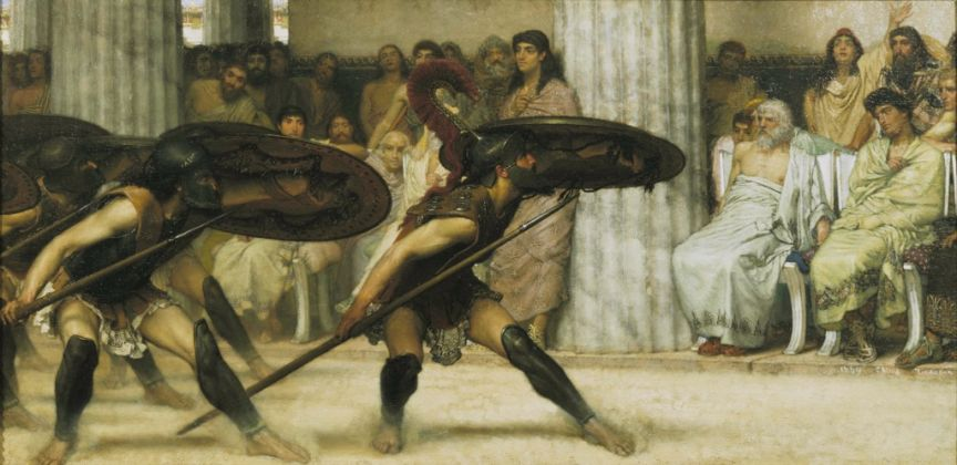 Lawrence Alma-Tadema, Danza pirrica, 1869. Guidhall Art Gallery, City of London. Courtesy Leighton House Museum, Londra