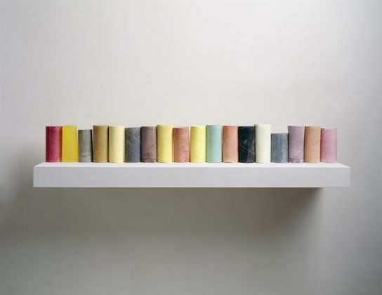 Line Up 2007-8 Plaster, pigment, resin, wood and metal (eighteen units, one shelf) 285 x 400 x 250 mm Private Collection, New York Photograph courtesy of the artist and Mike Bruce © Rachel Whiteread