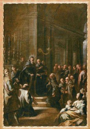 Taddeo Mazzi, Manetto dell'Antella cede la carica di generale dei Servi di Maria a Filippo Benizzi, 1725, bozzetto