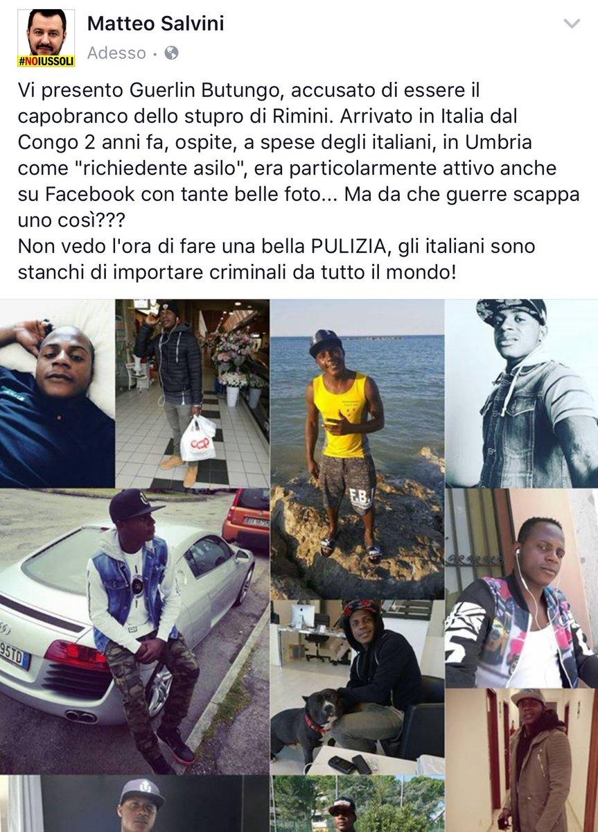 Uno dei tweet di Salvini sullo stupro di Rimini
