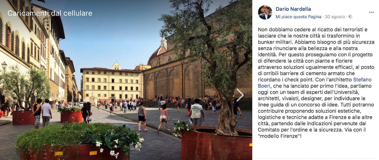 Il post su Facebook del Sindaco Nardella