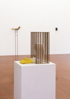 Andreas Senoner, Showcase. Childhood, 2017, Ex-Voto. Arm, 2017, Skins #1, 2017, exhibition view at Dopplegaenger, Bari 2017
