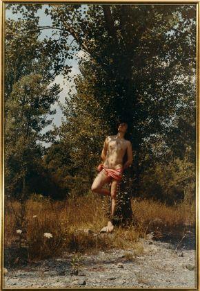 Luigi Ontani San Sebastiano, d'après Guido Reni 1970 fotografia acquerellata 100 x 70 cm Collezione Fabio Sargentini, Roma