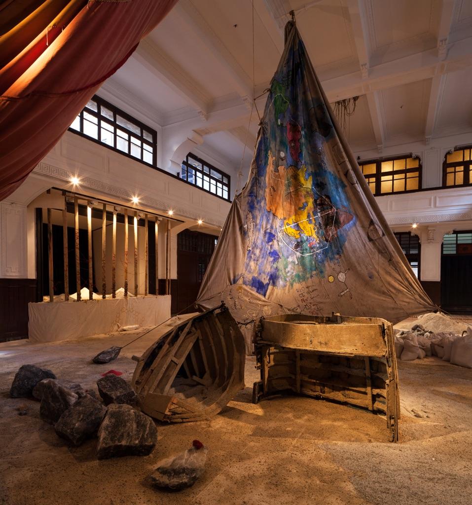 Anna Beghiguian, The Salt Traders, 2015. Installation view at 14th Istanbul Biennial