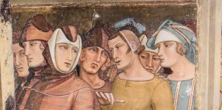 Ambrogio Lorenzetti, Maestà e Storie di San Galgano, affreschi strappati, dalla chiesa di San Galgano a Montesiepi (Chiusdino), particolare dopo il restauro