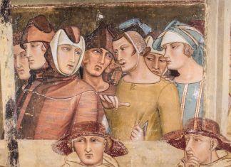 Ambrogio Lorenzetti, Maestà e Storie di San Galgano, affreschi strappati, dalla chiesa di San Galgano a Montesiepi (Chiusdino) PARTICOLARI DOPO IL RESTAURO