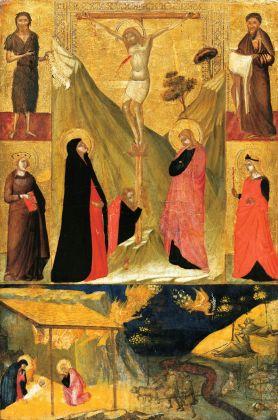 Ambrogio Lorenzetti, Crocifissione, quattro Santi, Natività e Annuncio ai pastori, tempera e oro su tavola, cm. 64,5 x 44,7, Francoforte, Städel Museum foto © Städel Museum / Artothek