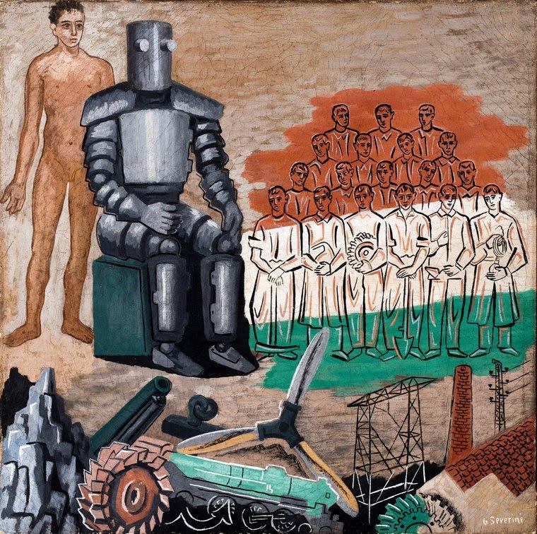 Gino Severini, L'Homme de l'avenir 1935 Tempera su carta intelata 52 x 52 Collezione Jacorossi, Roma