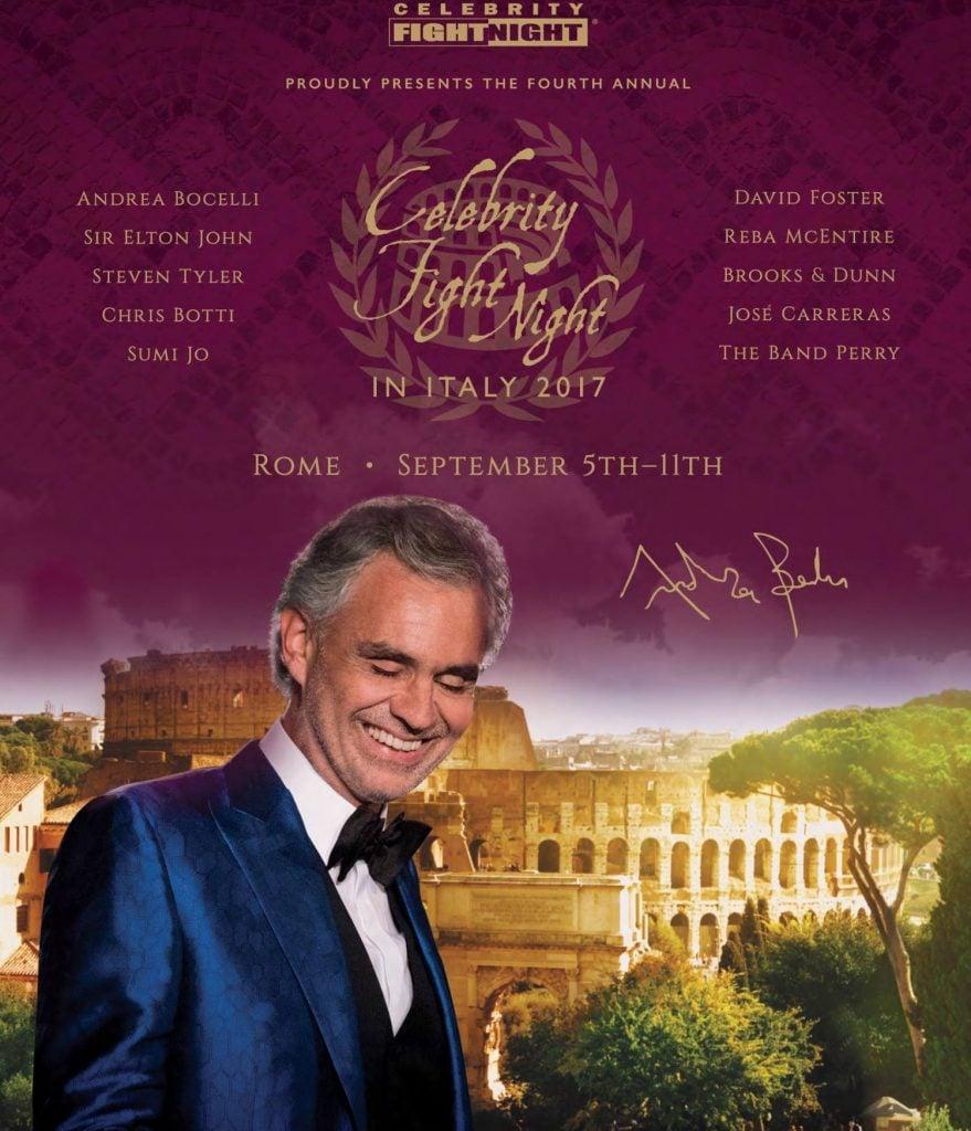 Il manifesto del concerto di Bocelli al Colosseo