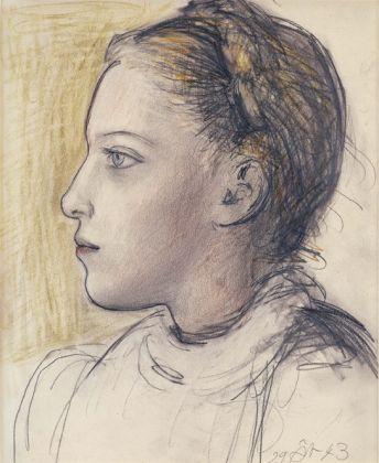 Pablo Picasso Portrait de Maya de profil, 1943 Pencil, charcoal and pastel on paper 12 1/4 x 14 5/8 inches 31 x 37 cm © Succession Picasso 2017 PICASSO ADMINISTRATION 8 rue Volney 75002 Paris Courtesy Gagosian