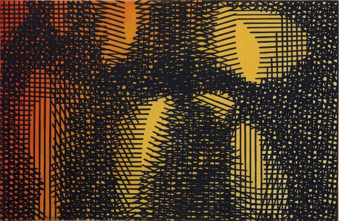 Mario Nigro, Tempo e spazio tensioni reticolari simultaneità di elementi in lotta, 1954. Milano, A arte Invernizzi