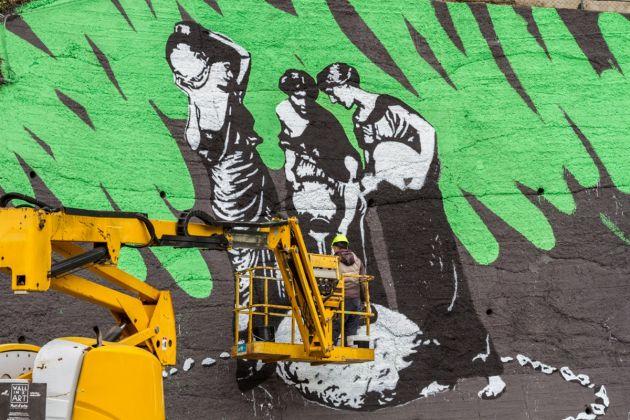 Wall in Art 2017. OZMO, Pietra forata, Dos delle Barbine, Accademia del Cattabriga. Vione, 2017. Ph Davide Bassanesi