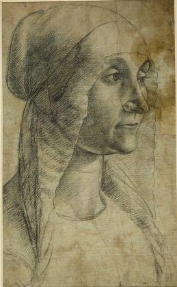 Domenico Ghirlandaio (Domenico Bigordi). Italian, Florence 1448/49–1494 Florence, Cartone, testa di donna